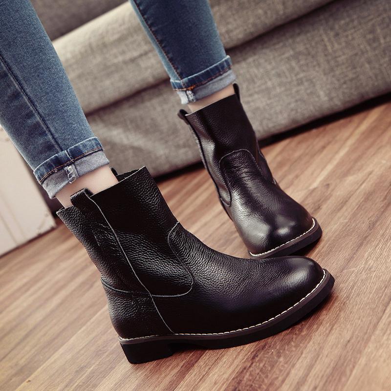 2014春秋新款马丁靴英伦平跟平底靴单靴短靴秋冬女鞋真皮女靴子潮