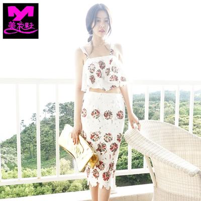 [新品促销] 波西米亚长裙蕾丝印花镂空中长款连衣裙海边度假沙滩吊带裙两件套