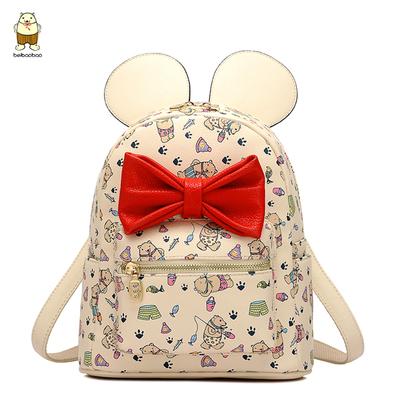 淘时尚2016夏季新款双肩包可爱小背包蝴蝶结个性女生包潮包旅游包