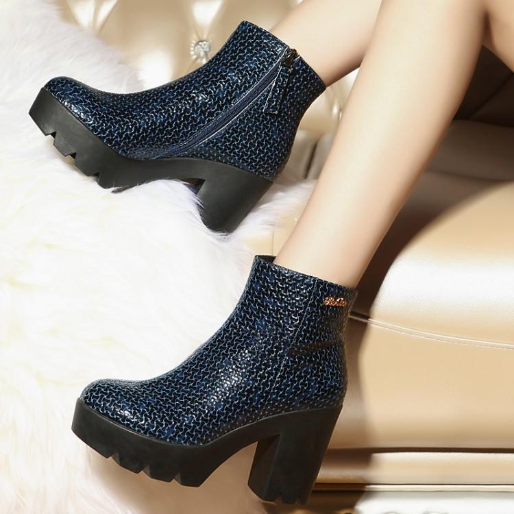 欧美新款时尚压花牛皮高跟短靴厚底防水台裸靴粗跟真皮 单靴子 女