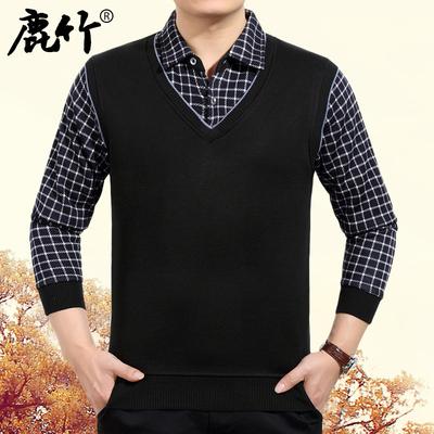 [新年价] 鹿竹冬季中年男士加绒加厚保暖长袖衬衫男装假两件格子加大码衬衣