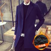 秋冬季男士加棉加厚风衣韩版修身中长款毛呢大衣青年英伦呢子外套
