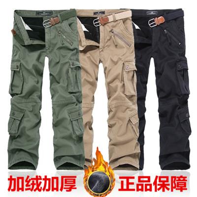 专柜正品保暖工装裤男 冬季加绒加厚宽松多袋裤军裤直筒休闲长裤