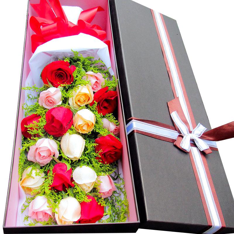 情人节香槟红玫瑰花礼盒成都鲜花速递龙泉自贡遂宁江油绵阳泸州