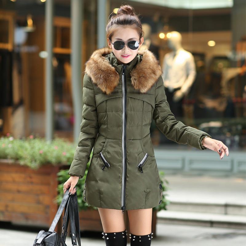 2014冬装新款女式韩版修身大毛领羽绒服中长款修身羽绒服