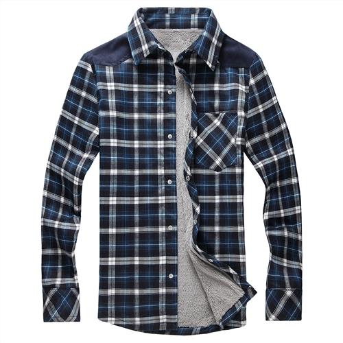 2014秋冬男保暖衬衫加绒衬衫男冬加厚衬衫男男装格子长袖衬衣潮
