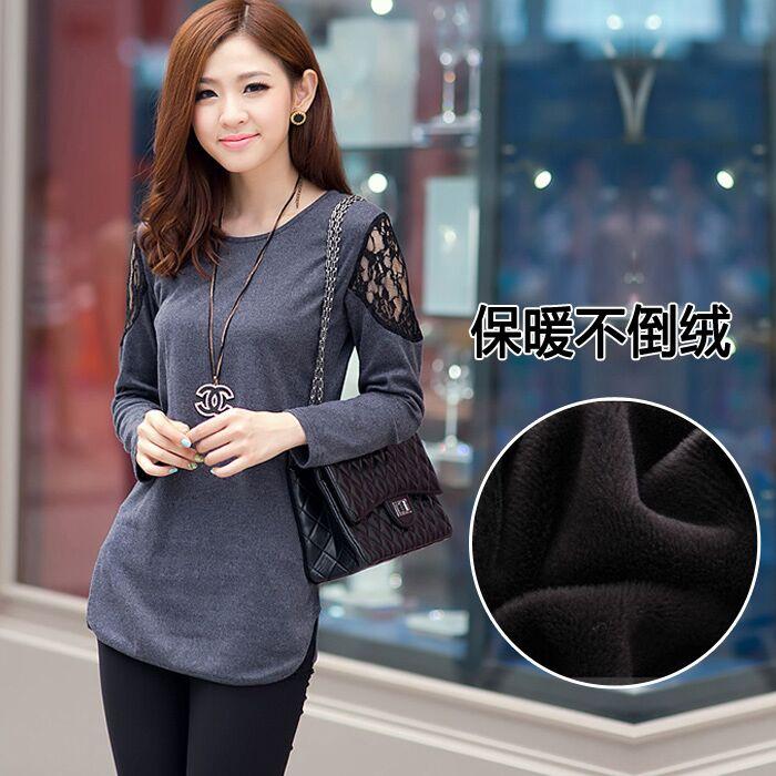 2015秋冬季新款韩版大码女装长袖t恤保暖上衣加绒加厚打底蕾丝衫