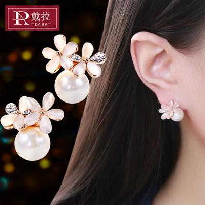 戴拉饰品 s925银针韩国甜美耳环女 无耳洞耳夹珍珠耳钉耳饰