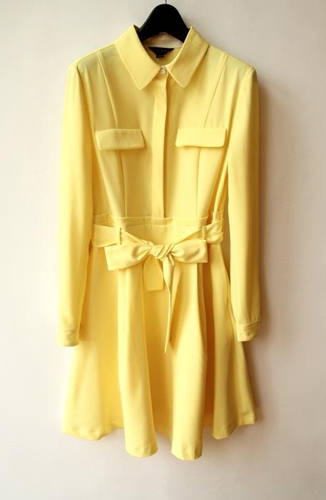 韩国品牌专柜品质时尚亮黄色淑女气质赫本风收腰款连衣裙