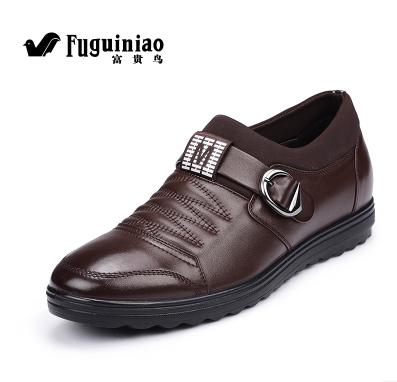正品富贵鸟男鞋新款隐形内增高鞋真皮软面皮休闲皮鞋小号37小码鞋
