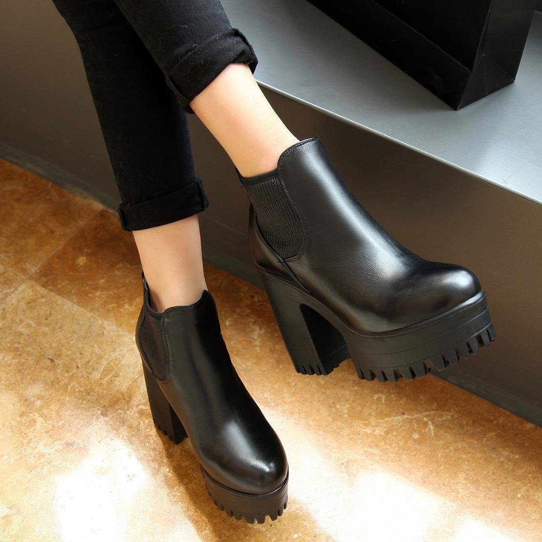 2014春秋英伦真皮马丁靴 女 短靴冬季时装高跟鞋厚底粗跟女靴子潮