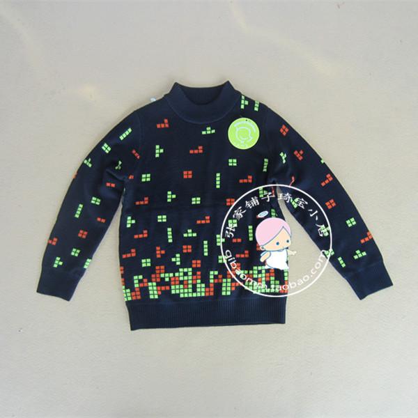 2014秋冬新款儿童装 男童韩版百搭双面织羊绒衫 半高领洋气针织衫