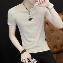 2017新款韩版潮流夏季男士短袖个性半袖男装夏装修身衣服V领t恤男