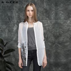 sdeer圣迪奥女装斑驳抽象印花长袖衬衫S16180549