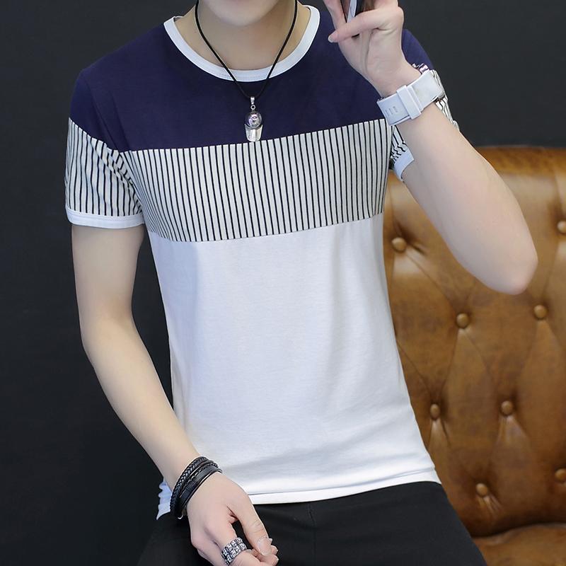 韩版小衫上夏季学生短袖衣服男士半袖休闲夏装纯棉