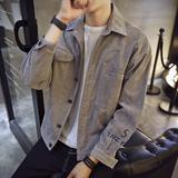 秋季灯芯绒夹克衫男士加肥加大码字母刺绣外套韩版青年上衣潮男装