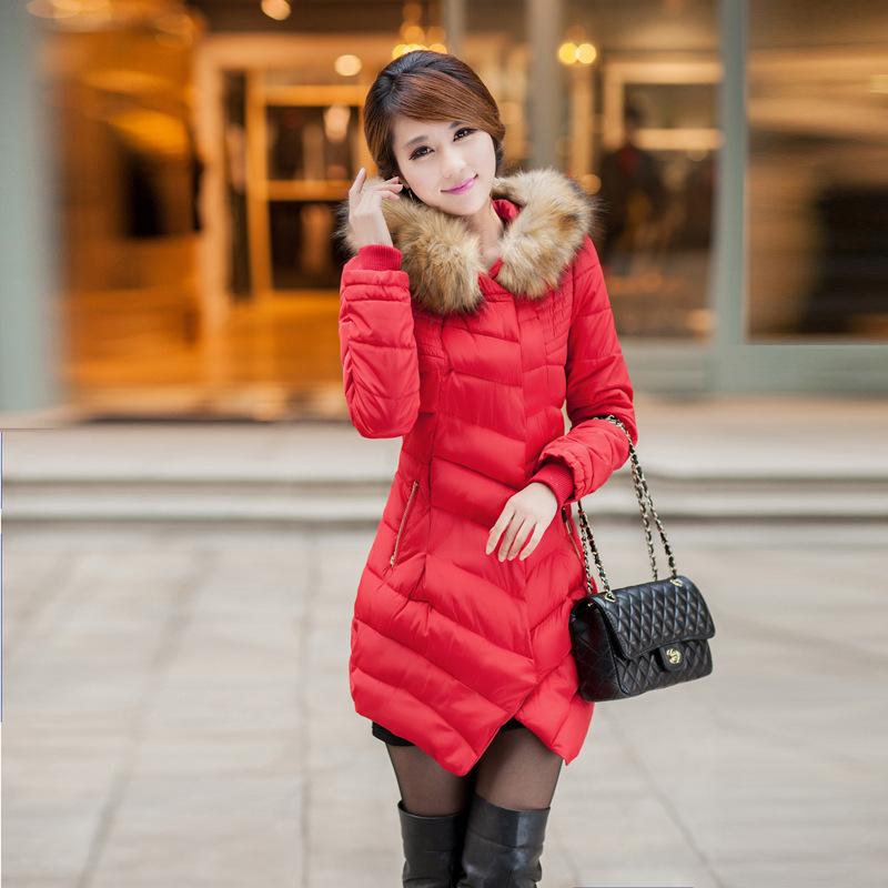 秋冬款女士棉服韩版潮流修身时尚女装连帽毛领外套加厚中长款棉衣