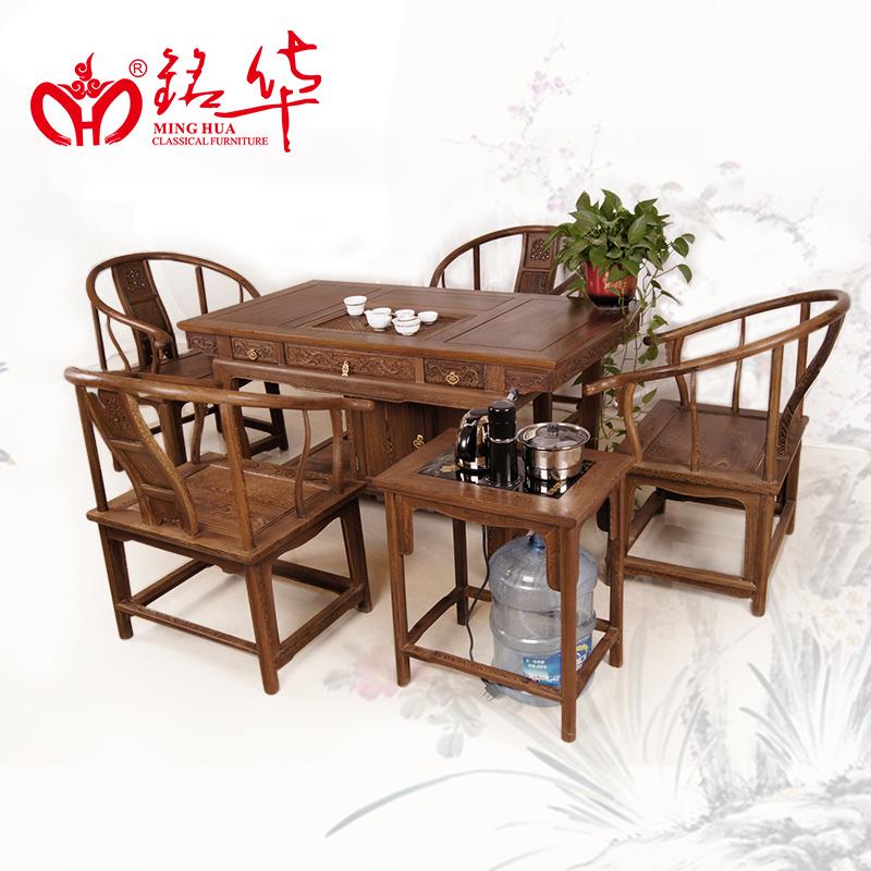 红木家具鸡翅木将军泡茶桌茶几椅子组合中式实木茶台
