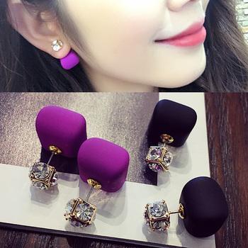 浓情巧克力豆珍珠水晶时尚气质长款韩国韩版耳夹耳饰耳环耳钉女