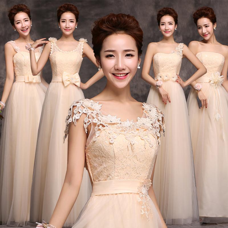 2014秋冬新款伴娘礼服香槟色伴娘裙姐妹团结婚演出服长款年会礼服
