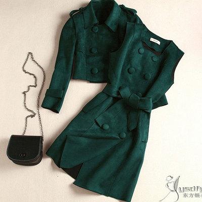秋冬新款名媛淑女修身双排扣背心连衣裙小外套套装两件套鹿皮绒绿