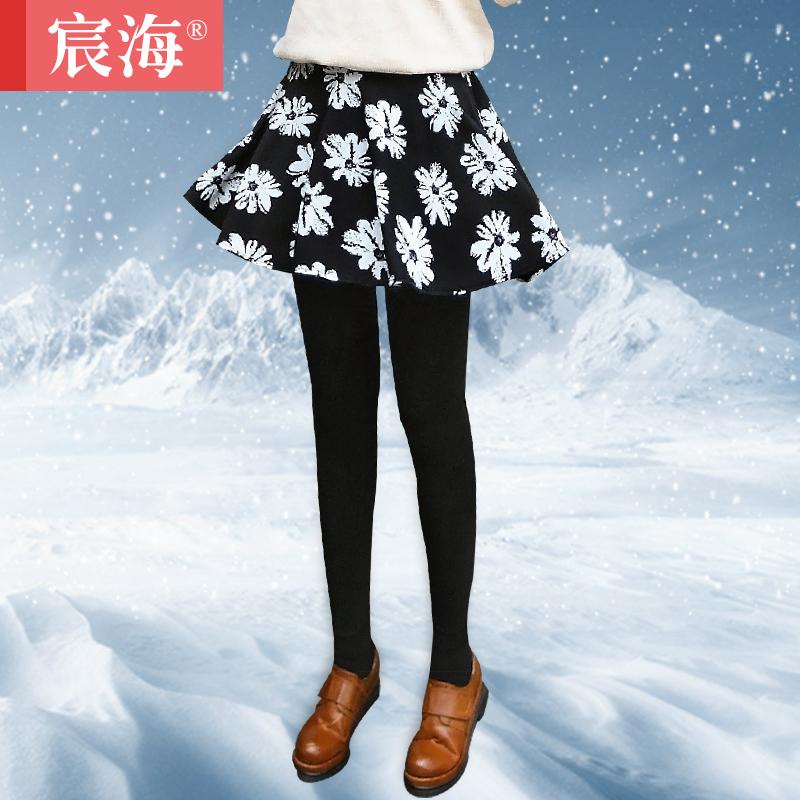 2014新秋冬款外穿假两件打底裤裙裤百褶印花加绒加厚显瘦大码女裤