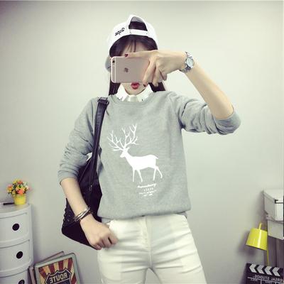 秋冬新款小鹿印花带领卫衣女学生加绒加厚外套头韩版长袖女装上衣