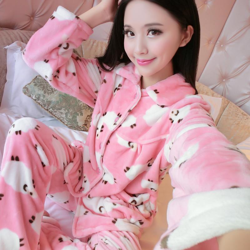 睡衣秋季套装珊瑚绒冬季加厚法兰绒冬天女冬长袖家居服女士 情侣