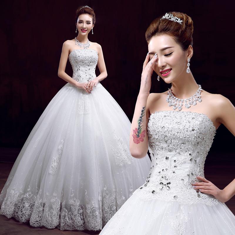 婚纱礼服2015新款抹胸婚纱冬 结婚纱长拖尾孕妇大码绑带齐地甜美