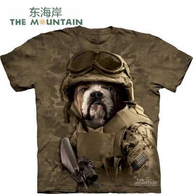 [今天心情好] 美国代购 THE MOUNTAIN 进口绿色环保大兵斗牛犬军事短袖打底T恤