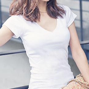 夏季上衣潮女士短袖t恤修身v领纯白色体桖纯棉打底衫 韩版 潮女装