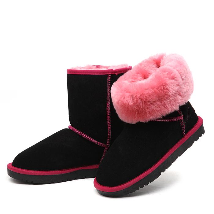 新款冬季5825拼色皮毛一体雪地靴中筒棉靴子牛皮羊毛加厚防滑女鞋