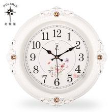 北极星欧式田园钟表静音挂钟复古石英钟客厅卧室时钟美式挂表圆形