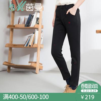 茵曼 女装冬装新款绣花加厚加绒休闲裤长裤铅笔裤女裤1864091257