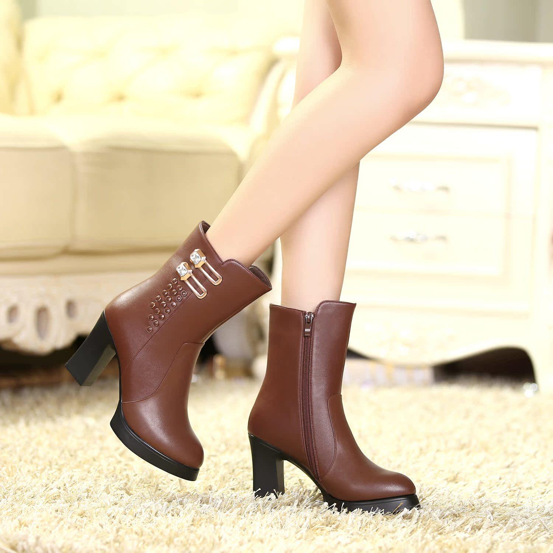红蜻蜓女靴专柜正品2014秋冬款防水台正品粗高跟厚底水钻短靴女鞋