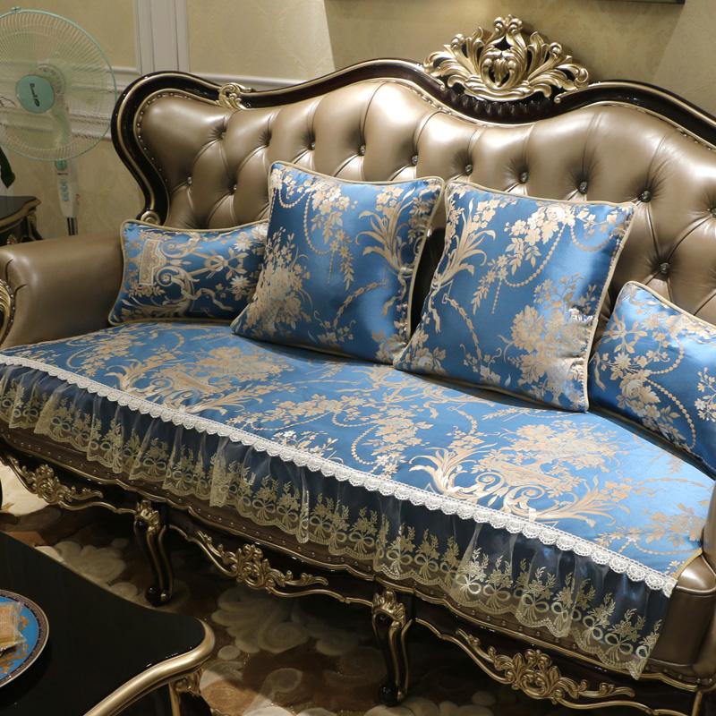 欧式沙发垫防滑皮沙发坐垫布艺沙发套巾四