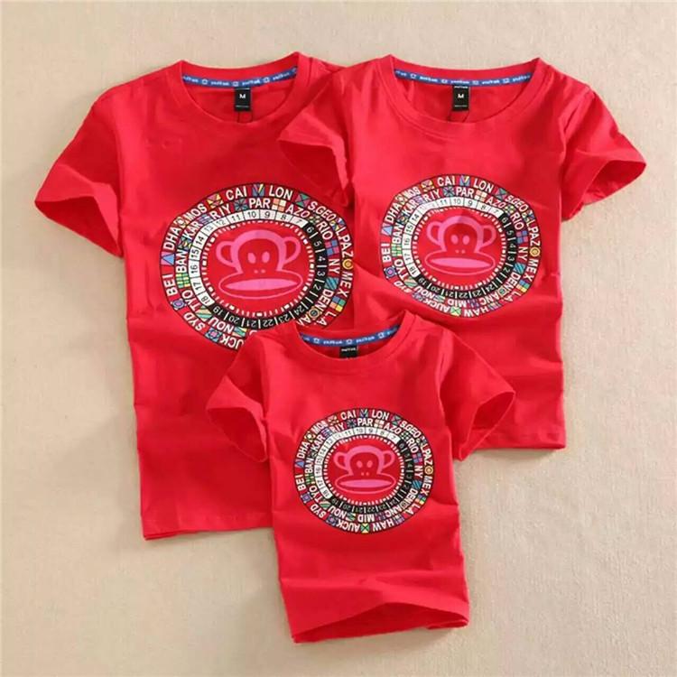 大嘴的猴夏季女式亲子纯棉短袖 钟表彩色猴印花T恤休闲套头打底衫