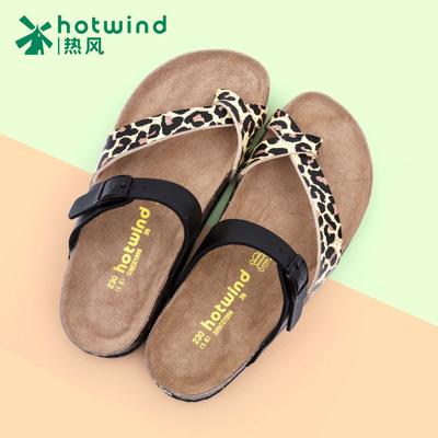热风套趾拖鞋夏季新款欧美时尚豹纹女士软木拖女拖66F4552