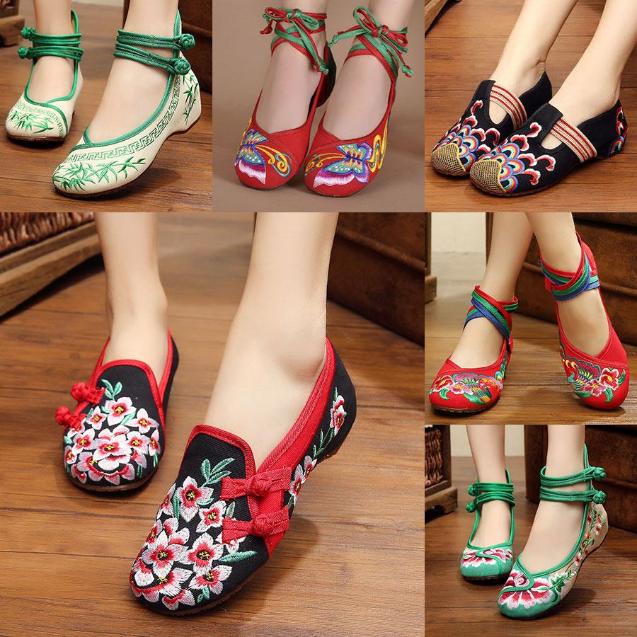 春夏新品青年绣花鞋民族风布鞋内女鞋时尚老北京女布鞋单鞋