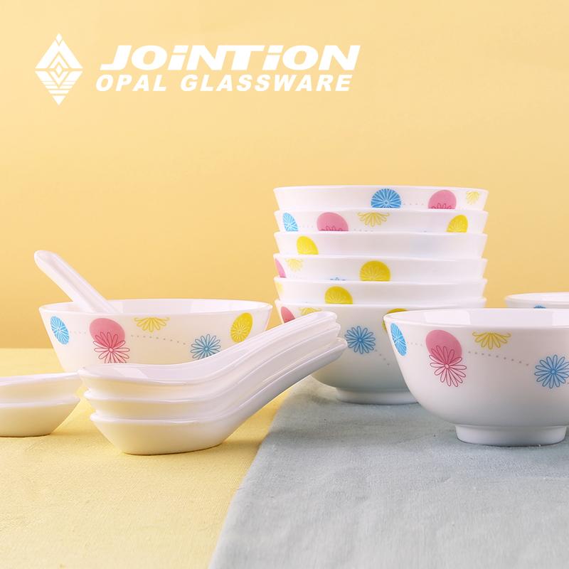 健诚 餐具套装 20头玉晶玻璃瓷碗勺子套装餐具 特价