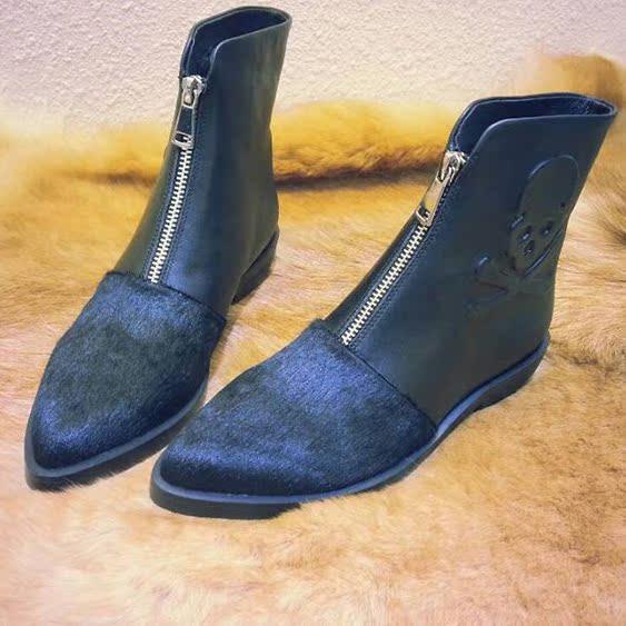 欧洲站麦昆短靴2014秋冬新款真皮女靴子潮欧货尖头低跟女鞋马丁靴