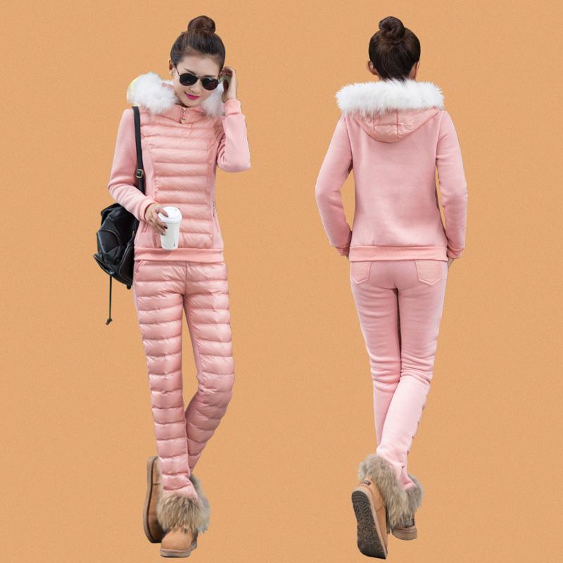 轻薄羽绒服套装时尚貉子毛领保暖女装 冬季休闲修身欧洲站两件套