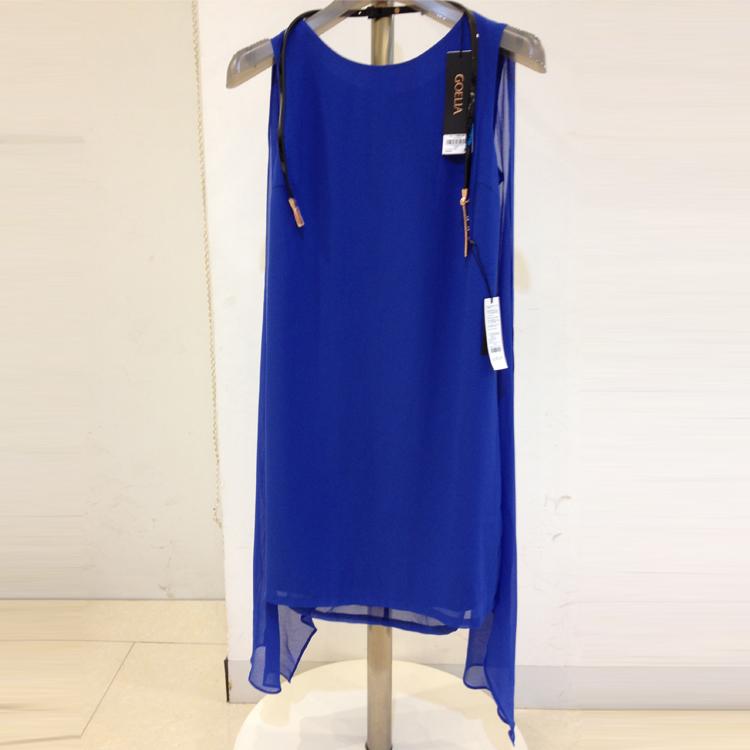 代购歌莉娅专柜正品2014新款夏款女装蓝色连衣裙147C4A05B 附腰带
