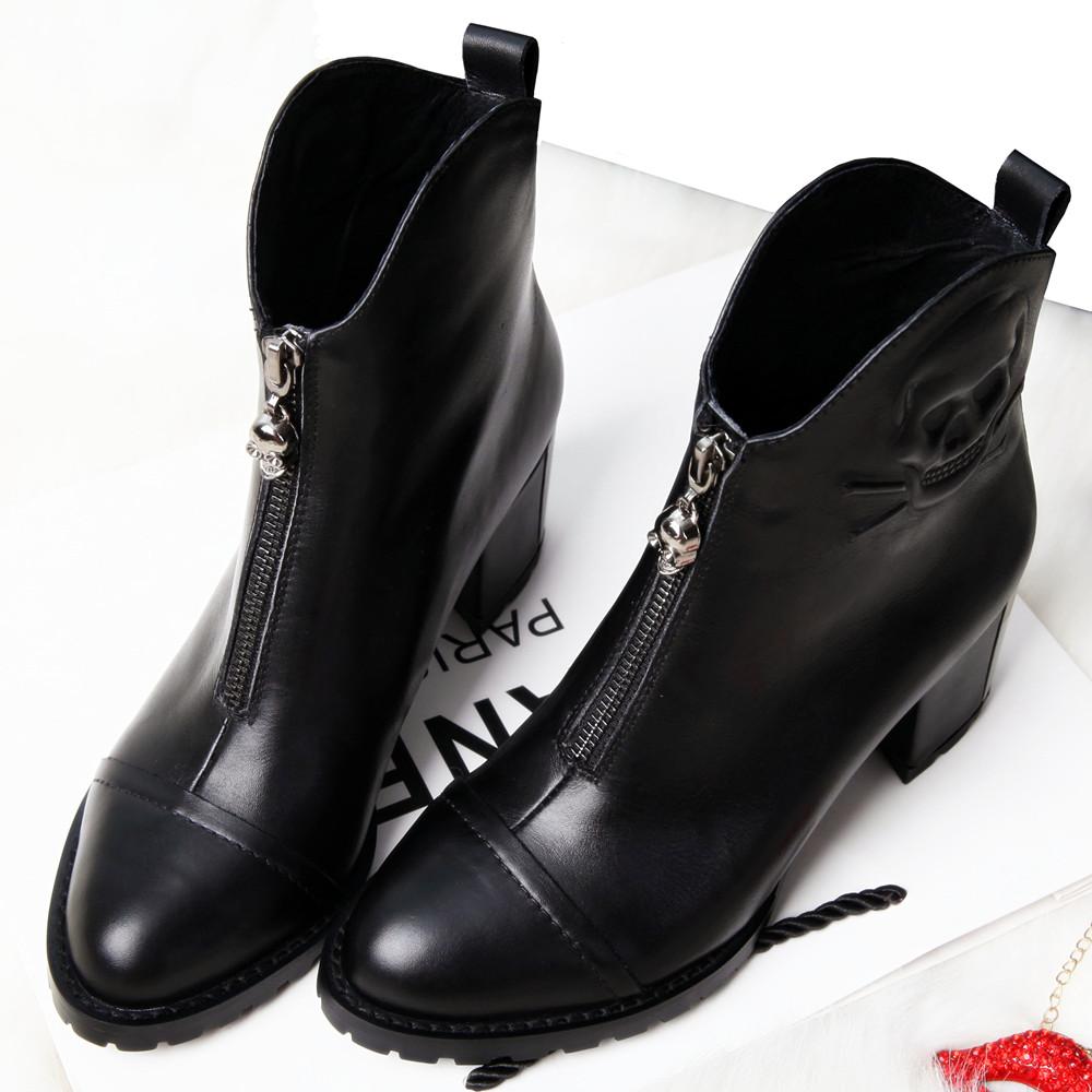 香港代购2014秋冬新款女单靴欧美裸靴真皮女短靴粗跟高跟马丁靴子