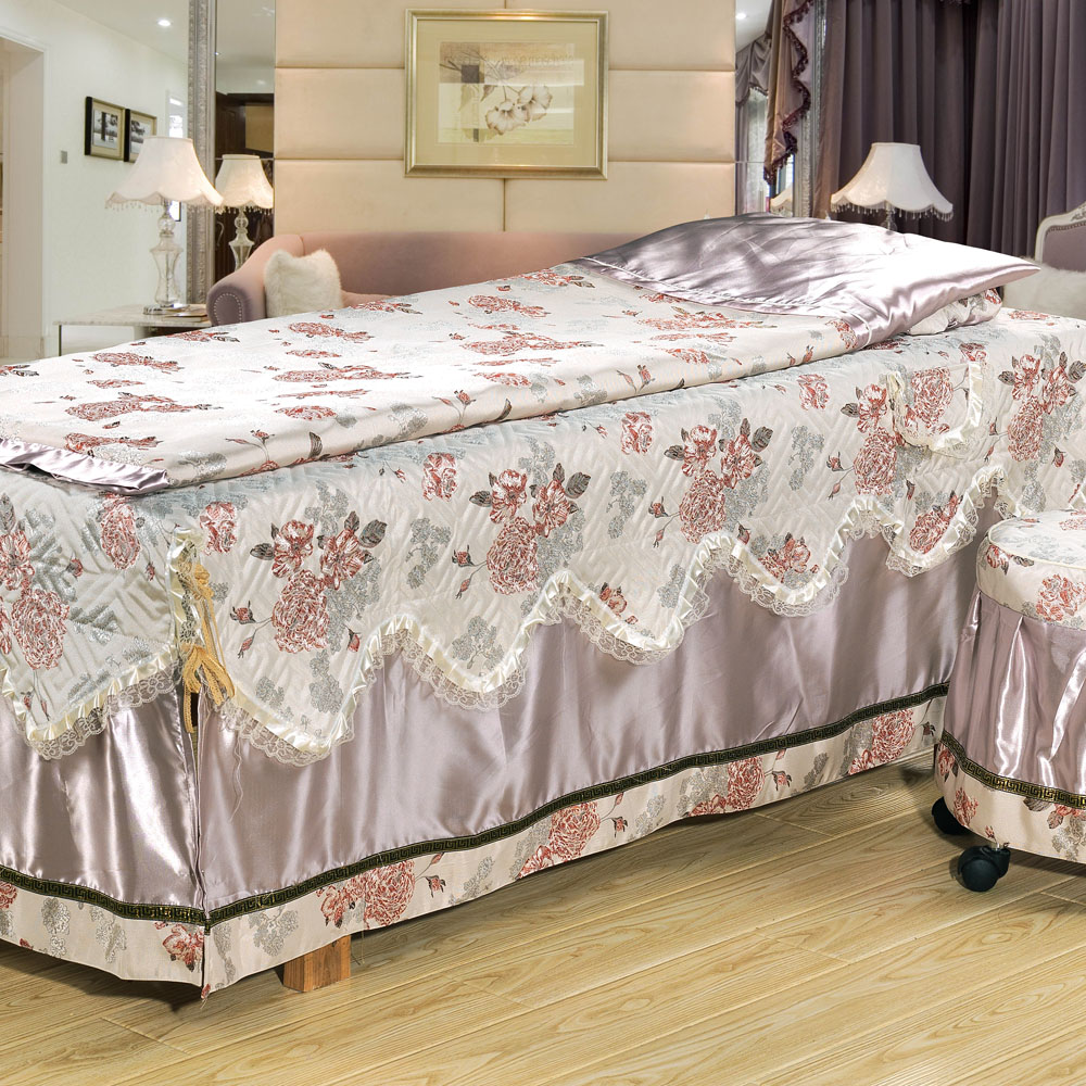 阿布登 高档美容床罩 四件套特价美体熏蒸按摩床罩通用秋冬款定做
