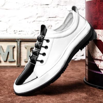 秋季新款时尚白色休闲鞋男士皮鞋真皮英伦圆头商务系带男鞋韩版潮