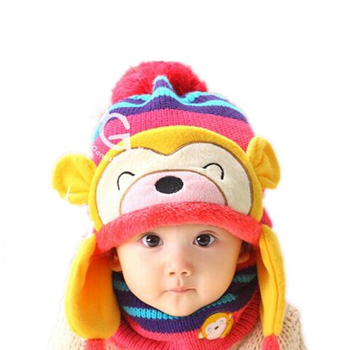欧雅姬2014新款韩版 0-1-2-3-4岁儿童围巾猴子护耳帽可爱围脖套装