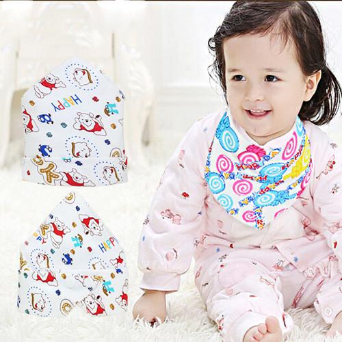 (3条包邮)婴儿口水巾纯棉围巾按扣加厚宝宝三角巾儿童围嘴围兜