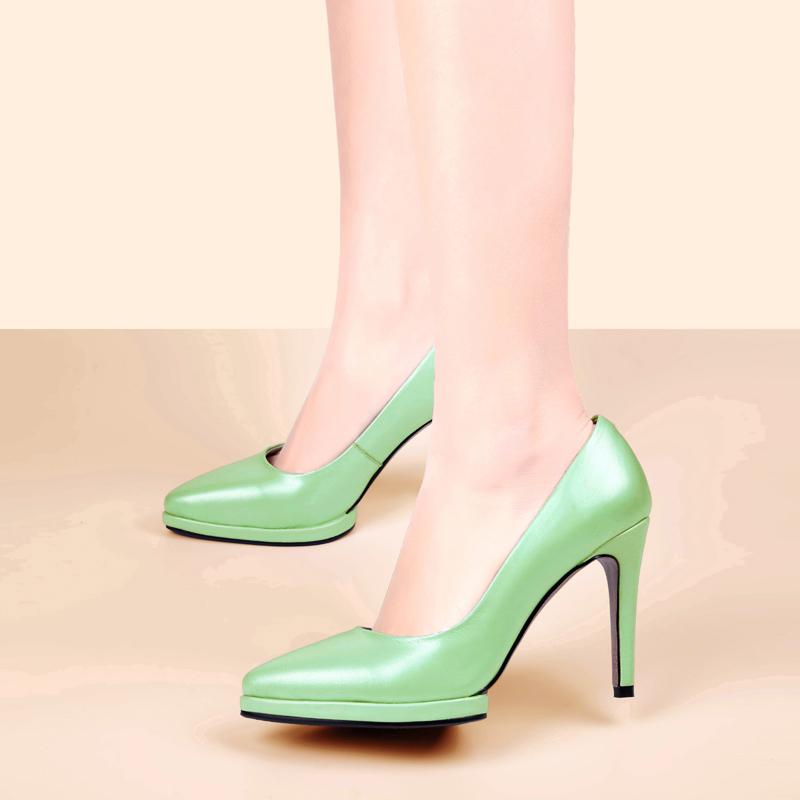 恋曦2015春秋新款真皮高跟单鞋细跟纯色气质防水台浅口尖头女鞋子