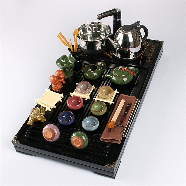 特价紫砂茶具套装陶瓷冰裂整套功夫茶具实木茶盘四合一电磁炉包邮